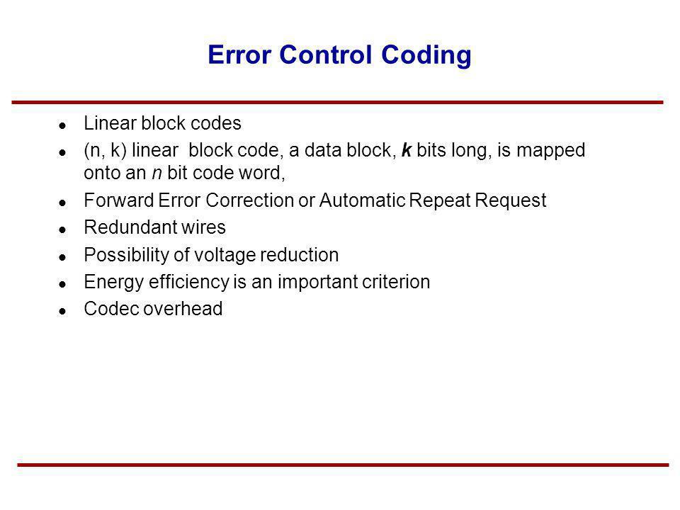 Error Control Coding Linear block codes (n, k) linear block code, a data block, k bits long, is mapped onto an n bit code word, Forward Error Correcti
