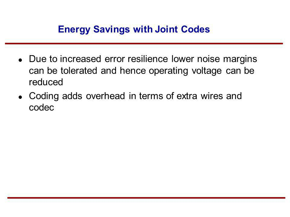 Energy Savings with Joint Codes Due to increased error resilience lower noise margins can be tolerated and hence operating voltage can be reduced Codi