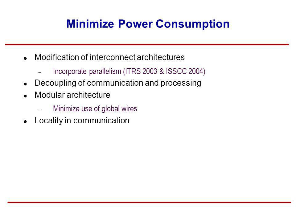 Minimize Power Consumption Modification of interconnect architectures Incorporate parallelism (ITRS 2003 & ISSCC 2004) Decoupling of communication and