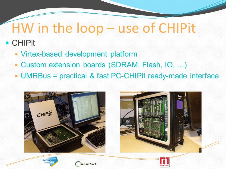 HW in the loop – use of CHIPit CHIPit Virtex-based development platform Custom extension boards (SDRAM, Flash, IO, …) UMRBus = practical & fast PC-CHI