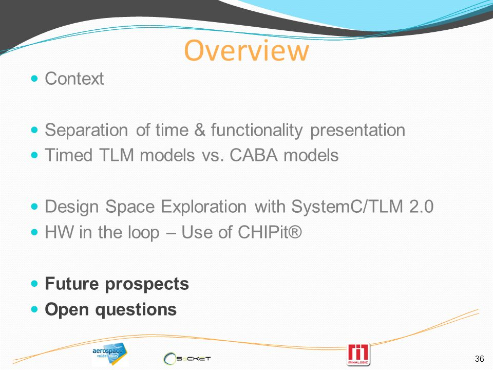 36 Overview Context Separation of time & functionality presentation Timed TLM models vs.