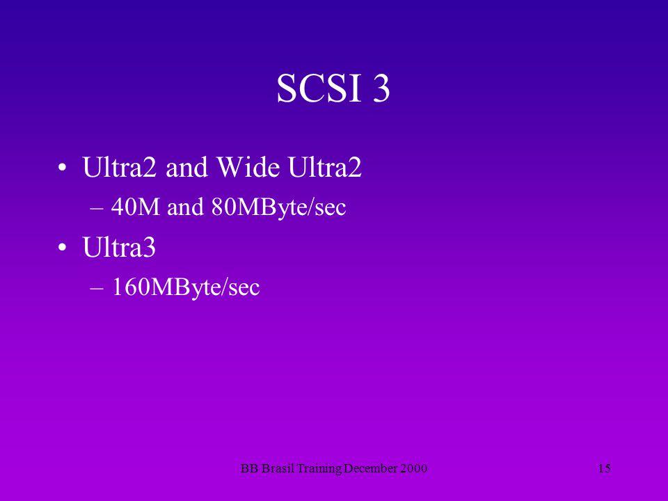 BB Brasil Training December 200015 SCSI 3 Ultra2 and Wide Ultra2 –40M and 80MByte/sec Ultra3 –160MByte/sec