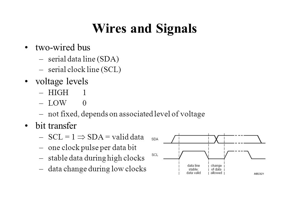 Wired-AND connection bus is free SDA and SCL are high –by pull-up resistors or current-source device output is ANDed with signal on bus