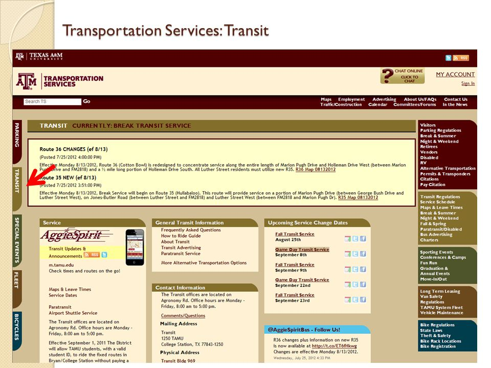 Transportation Services: Transit