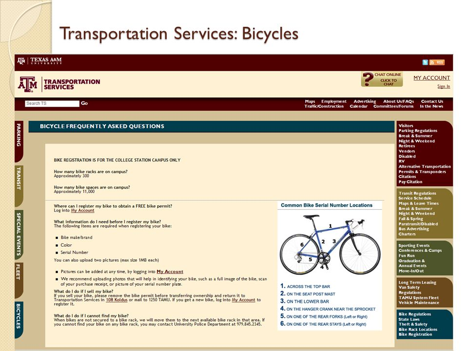 Transportation Services: Bicycles