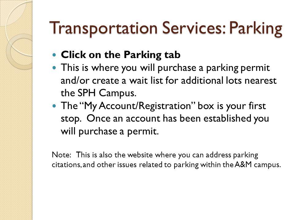 Transportation Services: Parking