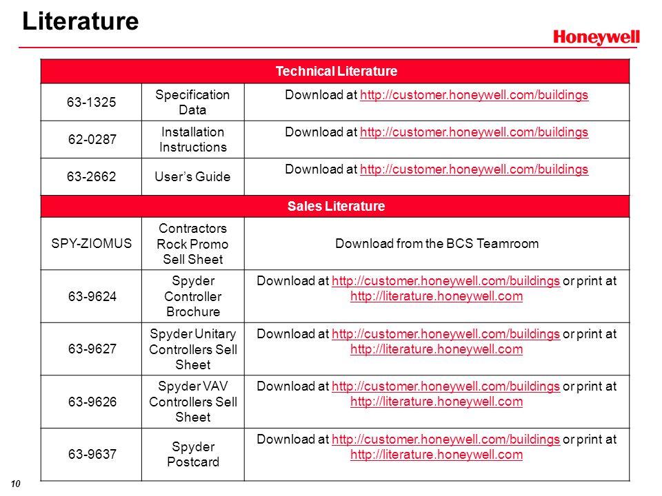 10 Literature Technical Literature 63-1325 Specification Data Download at http://customer.honeywell.com/buildingshttp://customer.honeywell.com/buildin