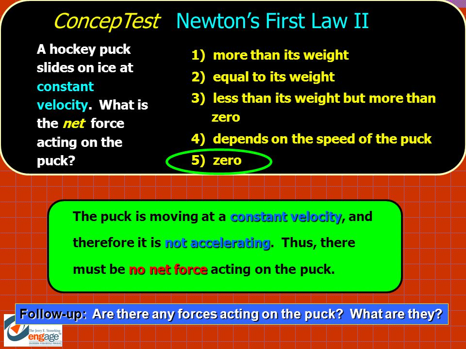 1) a net force acted on it 2) no net force acted on it 3) it remained at rest 4) it did not move, but only seemed to 5) gravity briefly stopped acting on it ConcepTest Newtons First Law III You put your book on the bus seat next to you.