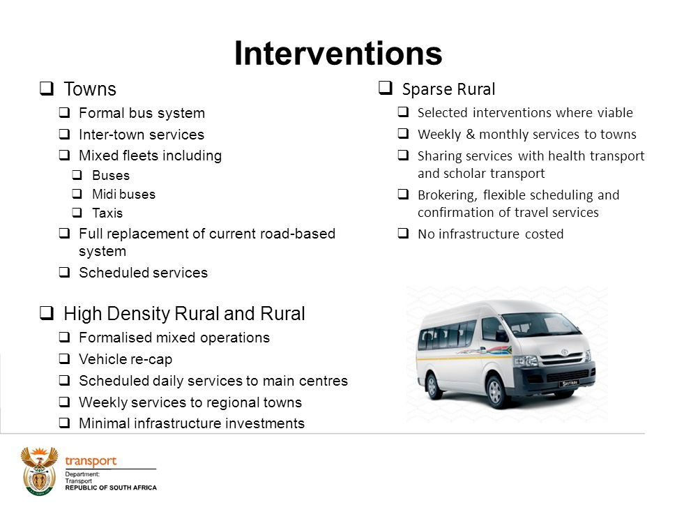 Interventions 24 Towns Formal bus system Inter-town services Mixed fleets including Buses Midi buses Taxis Full replacement of current road-based syst
