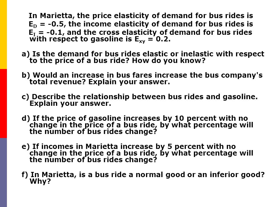 Examples of income elasticities CommodityIncome elasticity Automobiles2.46 Furniture1.48 Restaurant Meals1.40 Water1.02 Tobacco0.64 Gasoline0.48 Margarine-0.20 Pork-0.20 Public transportation-0.36