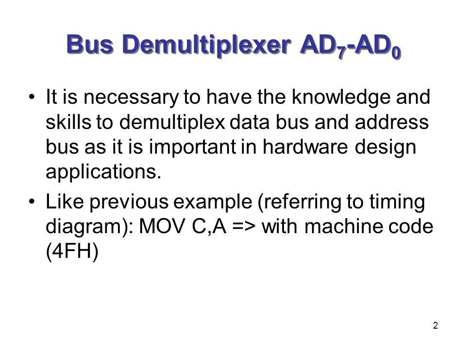 2 Bus Demultiplexer AD 7 -AD 0 It is necessary to have the knowledge and skills to demultiplex data bus and address bus as it is important in hardware