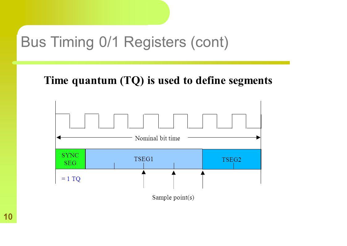 10 Bus Timing 0/1 Registers (cont) SYNC SEG TSEG1 TSEG2 Sample point(s) Nominal bit time = 1 TQ Time quantum (TQ) is used to define segments