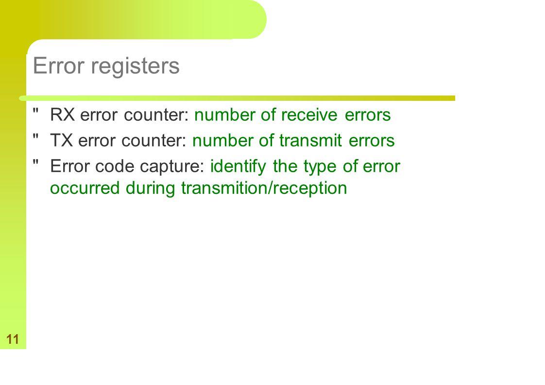 11 Error registers