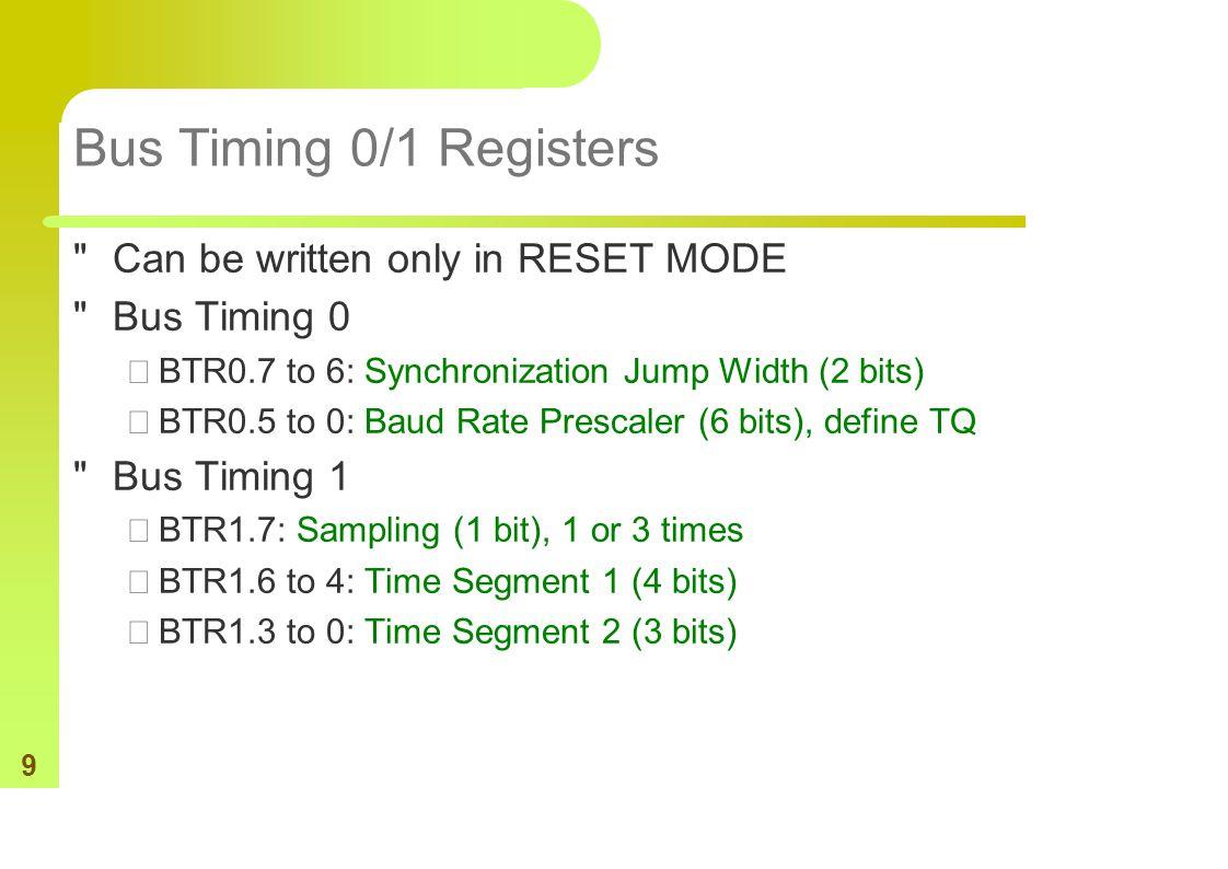 9 Bus Timing 0/1 Registers