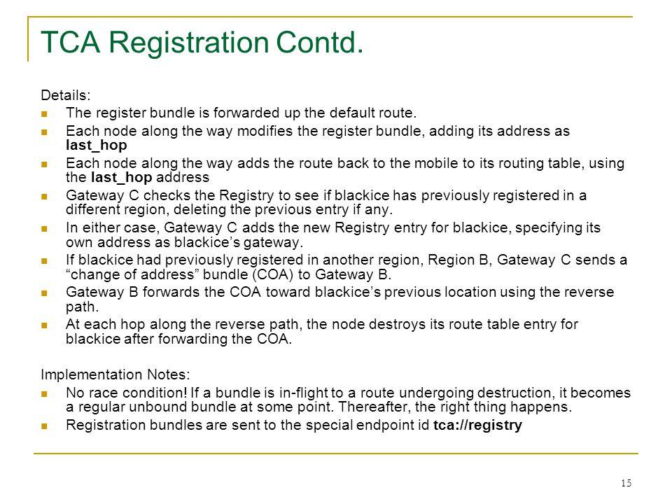 15 Details: The register bundle is forwarded up the default route. Each node along the way modifies the register bundle, adding its address as last_ho