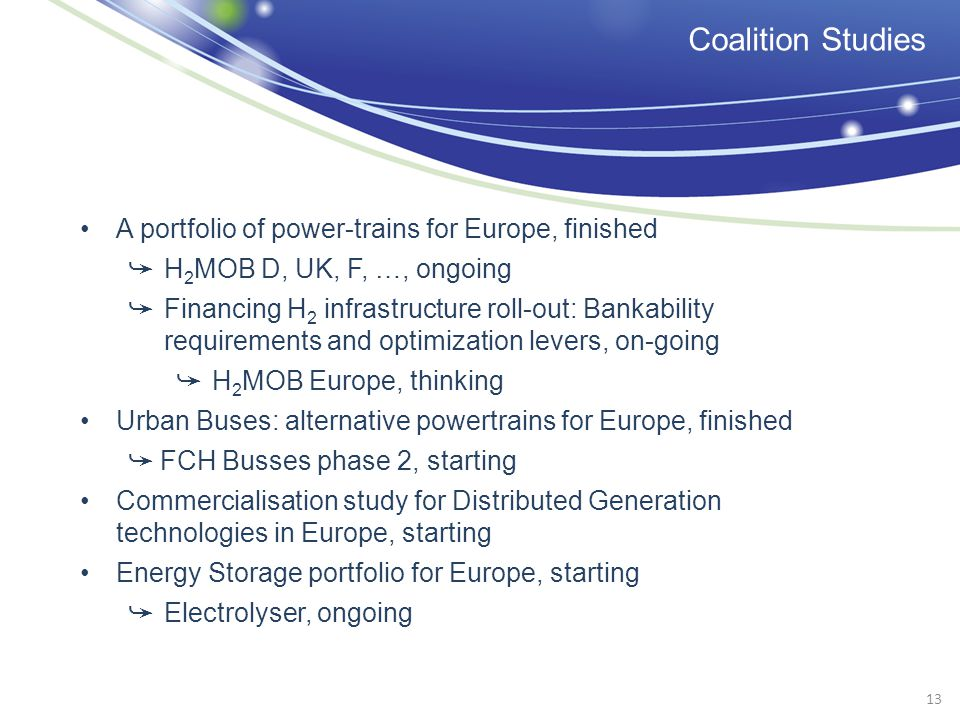 A portfolio of power-trains for Europe, finished H 2 MOB D, UK, F, …, ongoing Financing H 2 infrastructure roll-out: Bankability requirements and opti