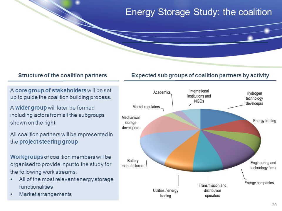 Energy Storage Study: the coalition A core group of stakeholders will be set up to guide the coalition building process. A wider group will later be f