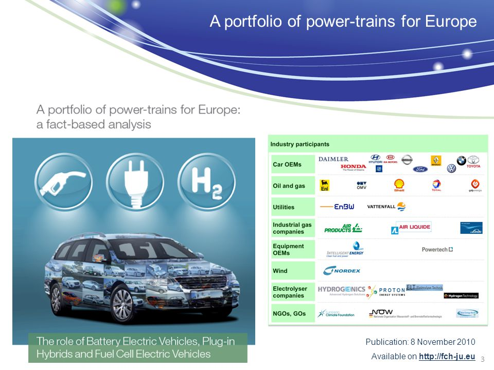 3 Publication: 8 November 2010 Available on http://fch-ju.eu A portfolio of power-trains for Europe