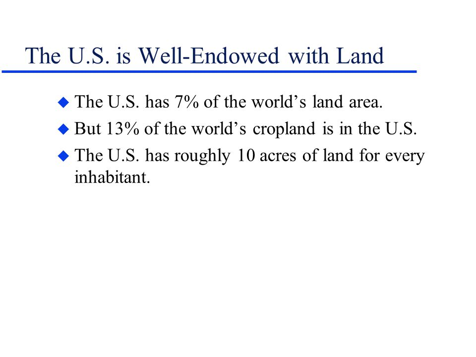 The U.S. is Well-Endowed with Land u The U.S. has 7% of the worlds land area. u But 13% of the worlds cropland is in the U.S. u The U.S. has roughly 1