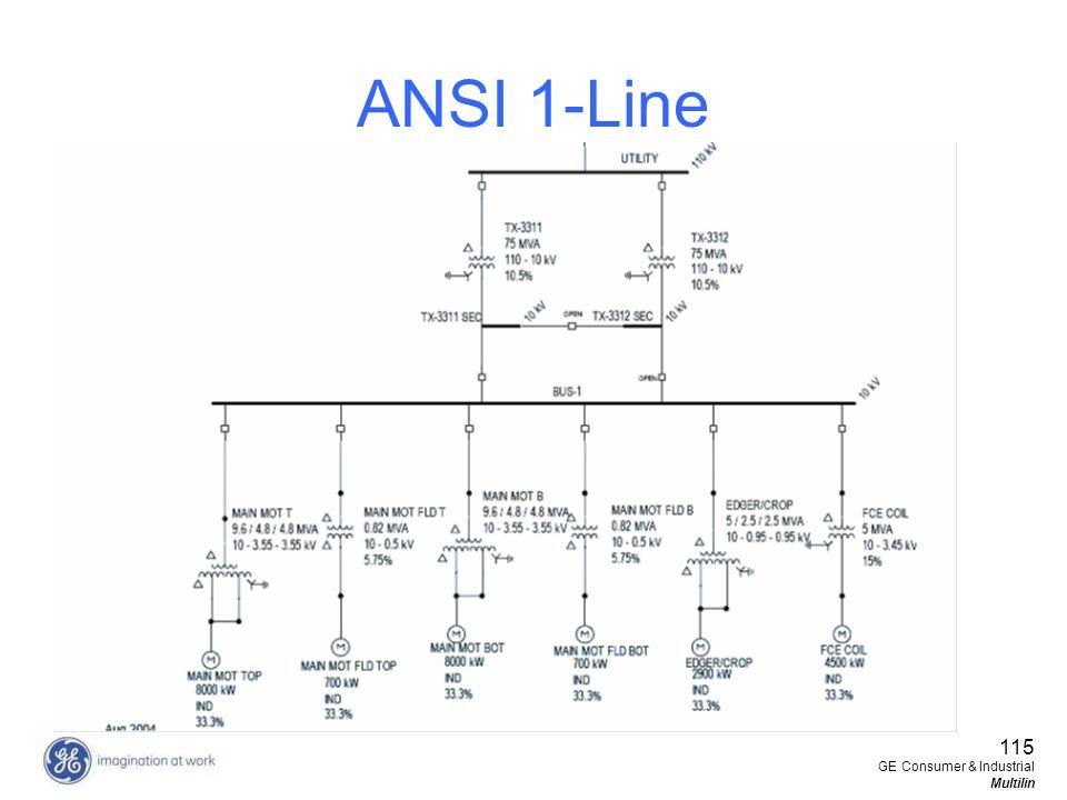115 GE Consumer & Industrial Multilin ANSI 1-Line