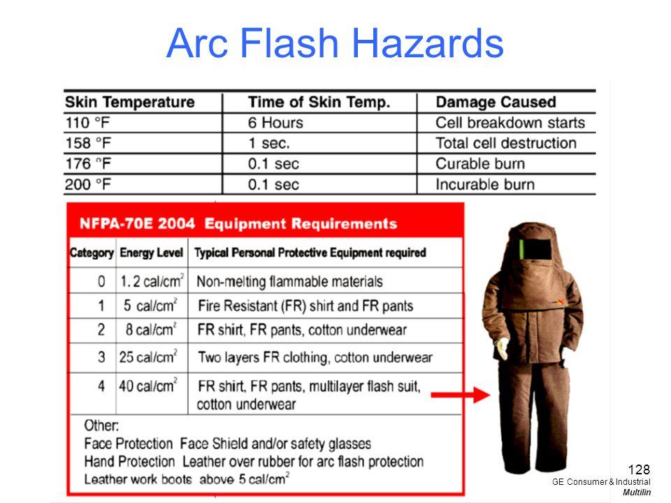 Arc Flash Hazards 128 GE Consumer & Industrial Multilin