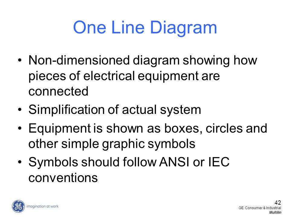42 GE Consumer & Industrial Multilin One Line Diagram Non-dimensioned diagram showing how pieces of electrical equipment are connected Simplification