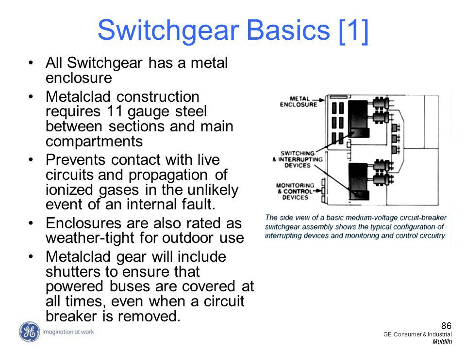 86 GE Consumer & Industrial Multilin Switchgear Basics [1] All Switchgear has a metal enclosure Metalclad construction requires 11 gauge steel between