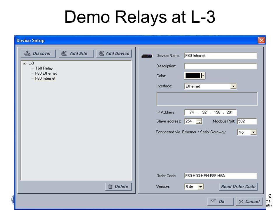 9 GE Consumer & Industrial Multilin Demo Relays at L-3