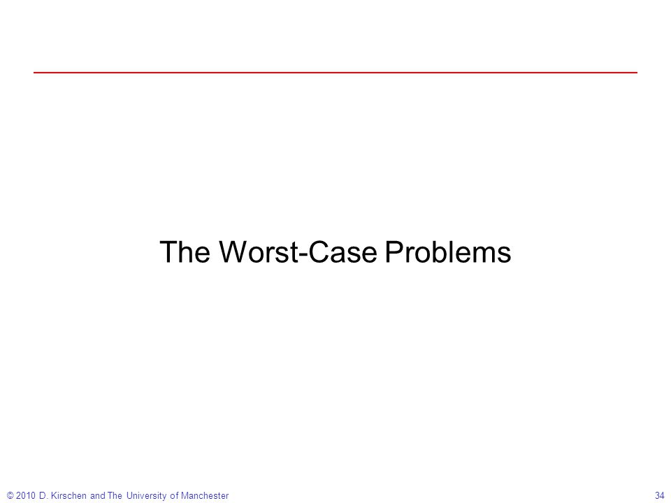 © 2010 D. Kirschen and The University of Manchester34 The Worst-Case Problems