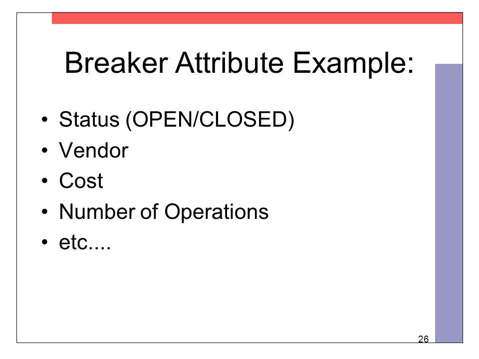 26 Breaker Attribute Example: Status (OPEN/CLOSED) Vendor Cost Number of Operations etc....