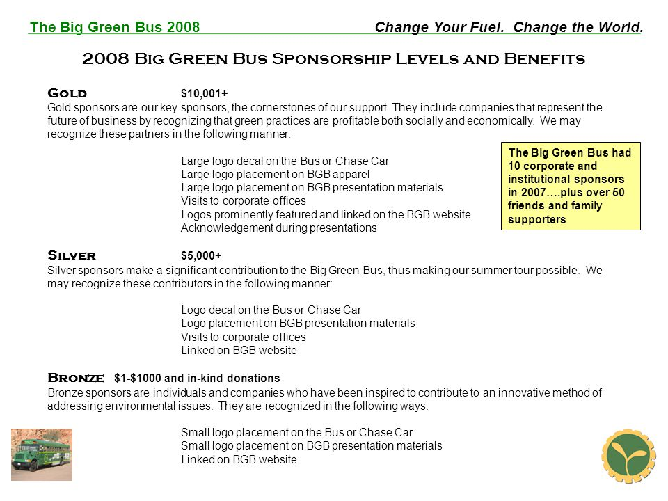 The Big Green Bus 2008Change Your Fuel. Change the World. 2008 Big Green Bus Sponsorship Levels and Benefits Gold $10,001+ Gold sponsors are our key s