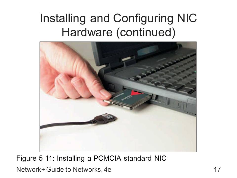 Network+ Guide to Networks, 4e17 Installing and Configuring NIC Hardware (continued) Figure 5-11: Installing a PCMCIA-standard NIC