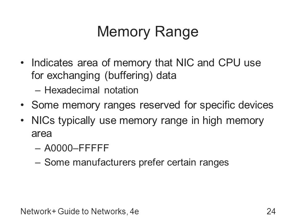Network+ Guide to Networks, 4e24 Memory Range Indicates area of memory that NIC and CPU use for exchanging (buffering) data –Hexadecimal notation Some