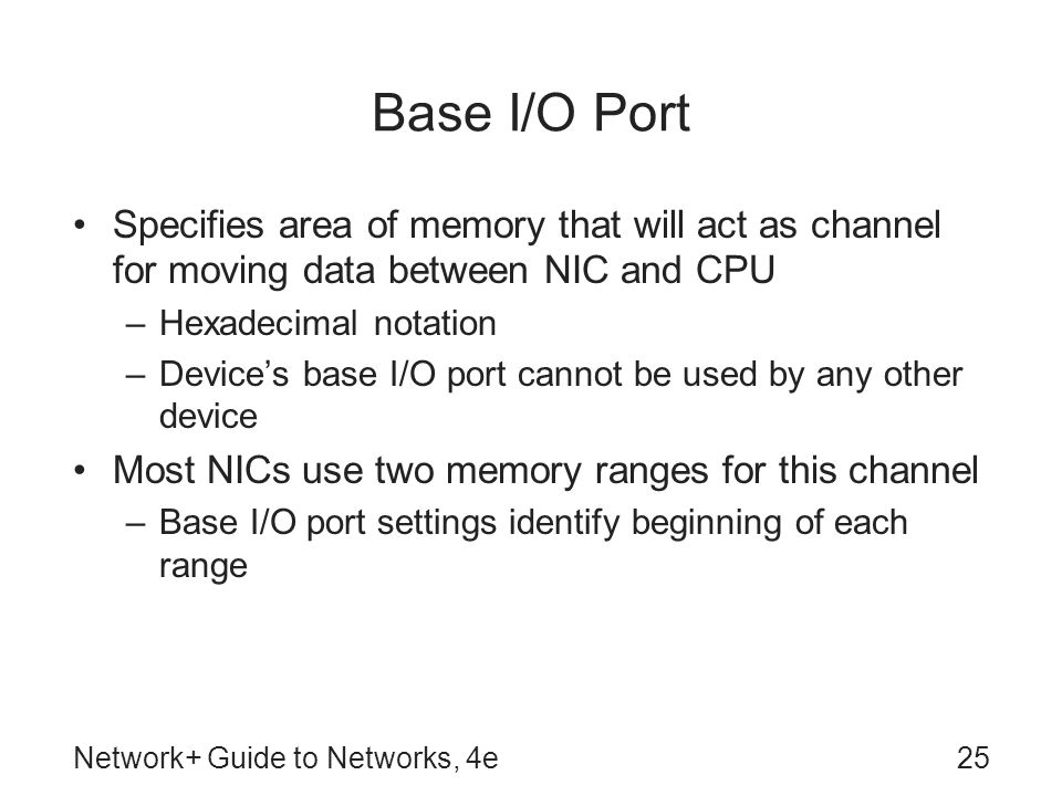 Network+ Guide to Networks, 4e25 Base I/O Port Specifies area of memory that will act as channel for moving data between NIC and CPU –Hexadecimal nota