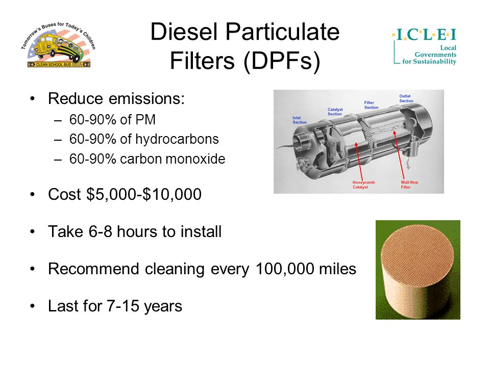 Diesel Particulate Filters (DPFs) Reduce emissions: –60-90% of PM –60-90% of hydrocarbons –60-90% carbon monoxide Cost $5,000-$10,000 Take 6-8 hours to install Recommend cleaning every 100,000 miles Last for 7-15 years