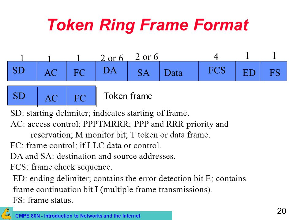 CMPE 80N - Introduction to Networks and the Internet 20 Token Ring Frame Format 1 SD ACFC DA SAData FCS 1 12 or 6 4 SD: starting delimiter; indicates