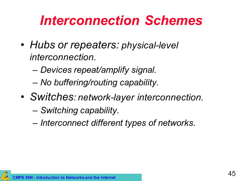 CMPE 80N - Introduction to Networks and the Internet 45 Interconnection Schemes Hubs or repeaters: physical-level interconnection.