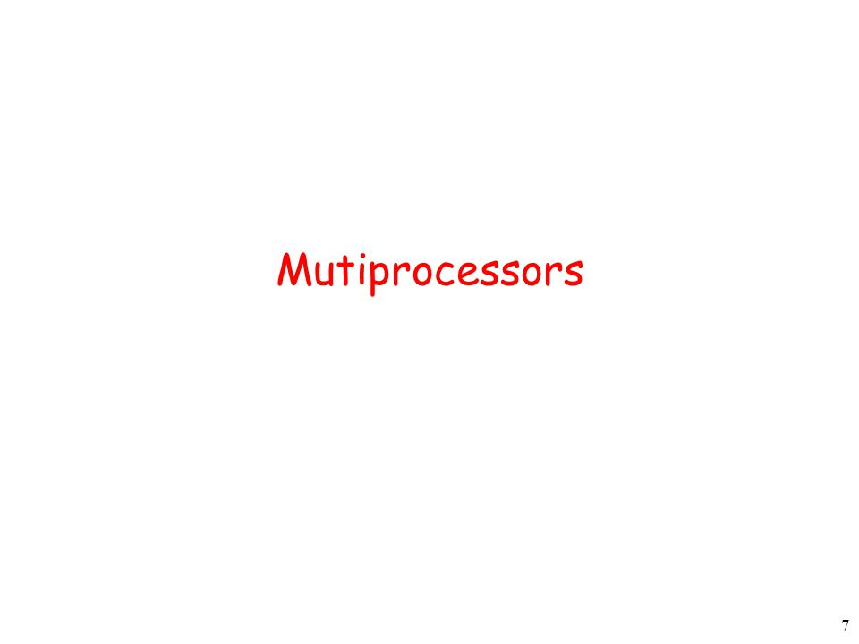8 Multiprocessor Systems Multiple CPUs with a shared memory From an applications perspective, difference with single-processor system need not be visible Virtual memory where pages may reside in memories associated with other CPUs Applications can exploit parallelism for speed-up Topics to cover 1.Multiprocessor architectures (Section 8.1.1) 2.Cache coherence 3.OS organization (Section 8.1.2) 4.Synchronization (Section 8.1.3) 5.Scheduling (Section 8.1.4)