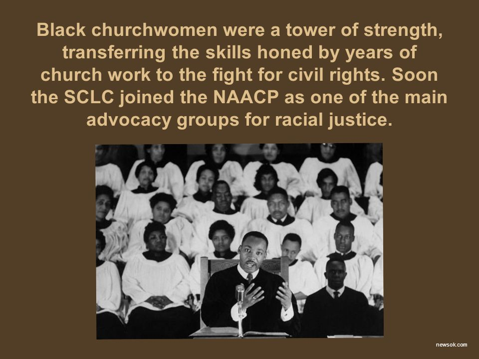 Black churchwomen were a tower of strength, transferring the skills honed by years of church work to the fight for civil rights. Soon the SCLC joined