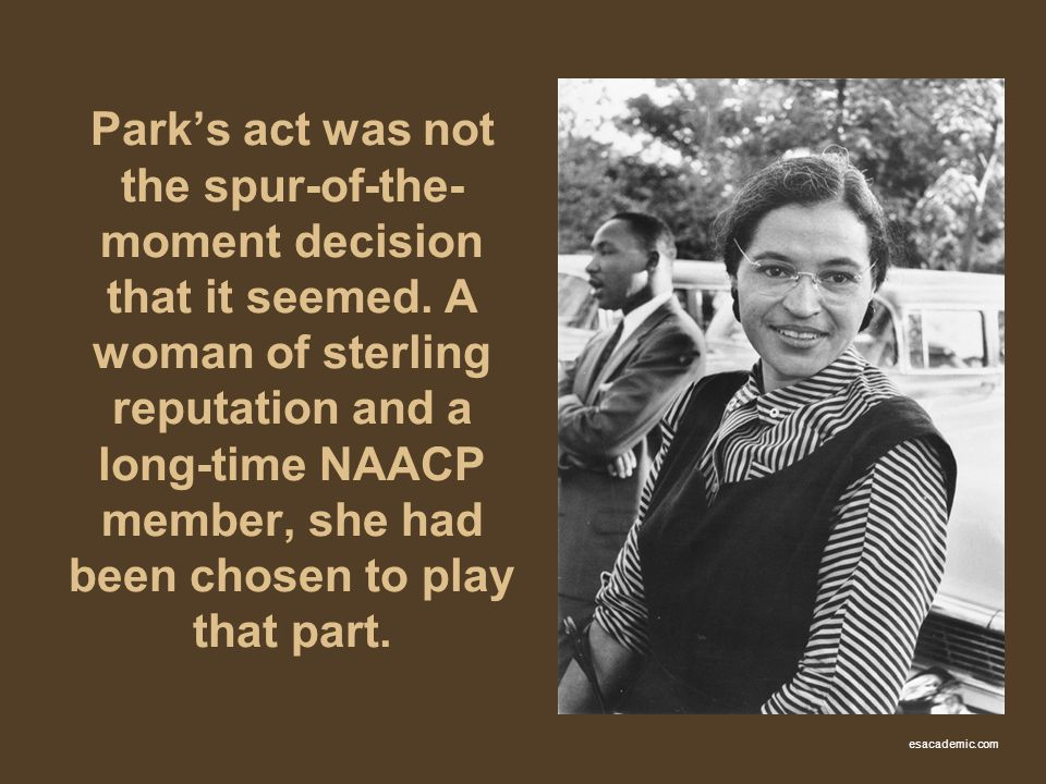 Parks act was not the spur-of-the- moment decision that it seemed. A woman of sterling reputation and a long-time NAACP member, she had been chosen to