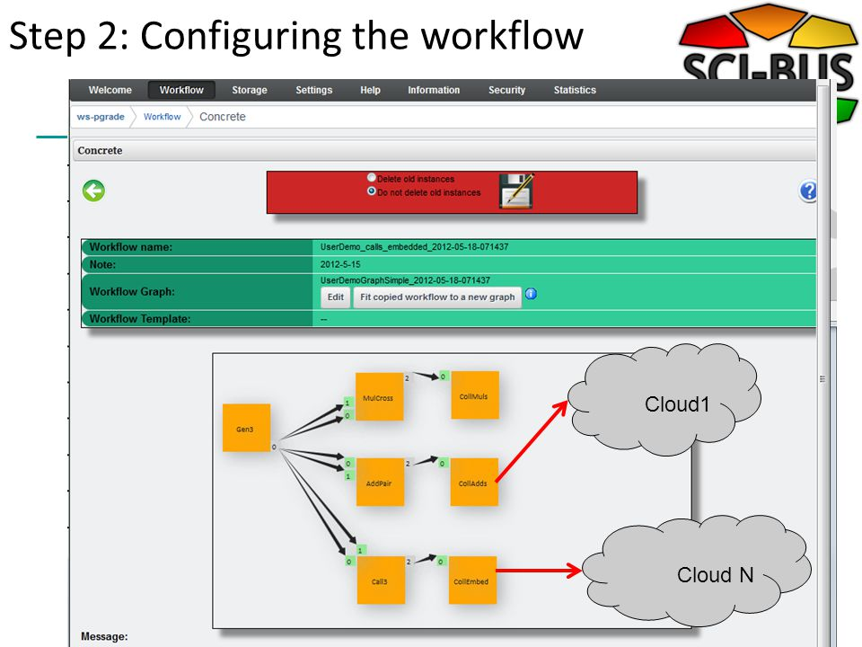 Step 2: Configuring the workflow Cloud1Cloud N