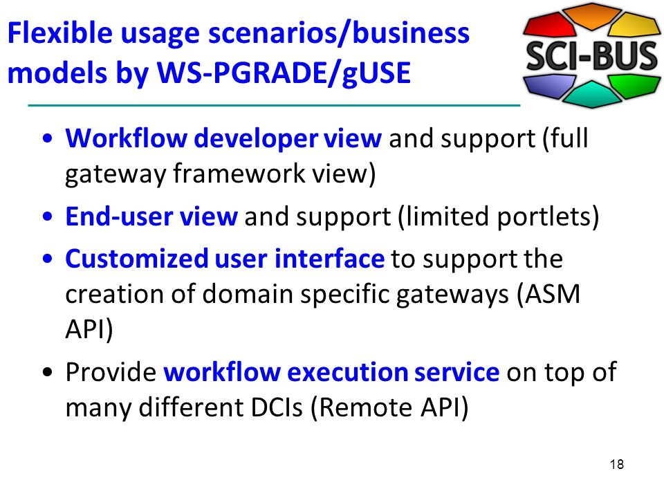 Flexible usage scenarios/business models by WS-PGRADE/gUSE Workflow developer view and support (full gateway framework view) End-user view and support (limited portlets) Customized user interface to support the creation of domain specific gateways (ASM API) Provide workflow execution service on top of many different DCIs (Remote API) 18
