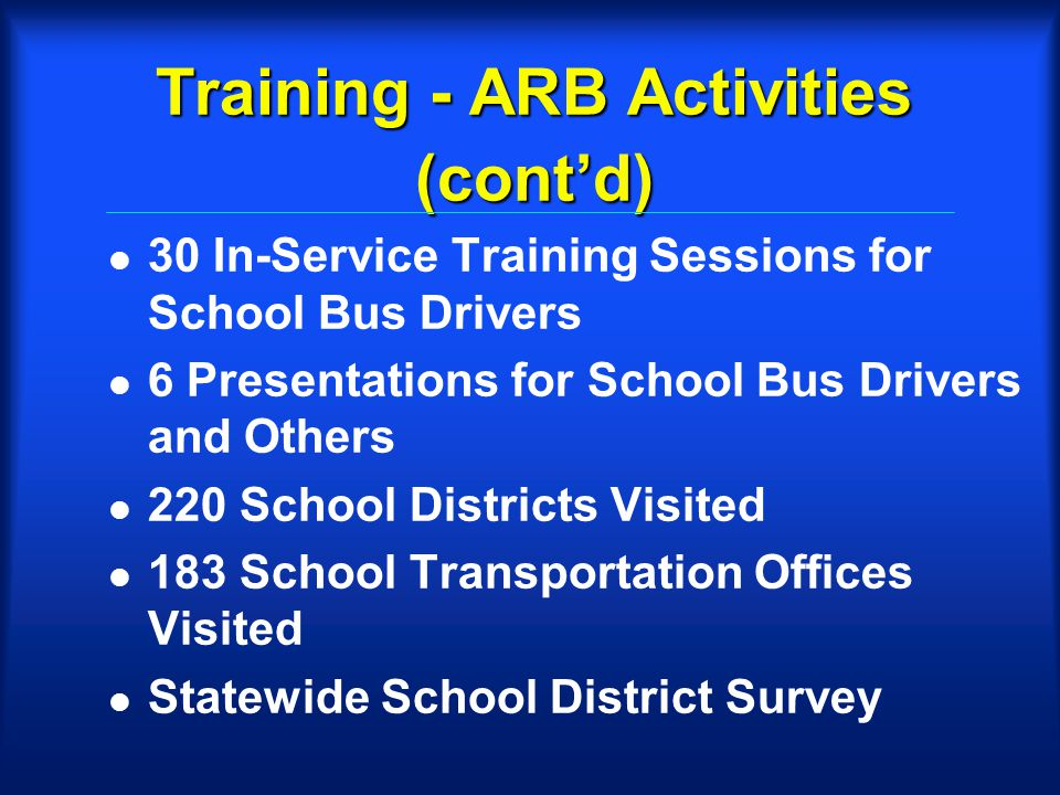 Training - ARB Activities (contd) l 30 In-Service Training Sessions for School Bus Drivers l 6 Presentations for School Bus Drivers and Others l 220 School Districts Visited l 183 School Transportation Offices Visited l Statewide School District Survey