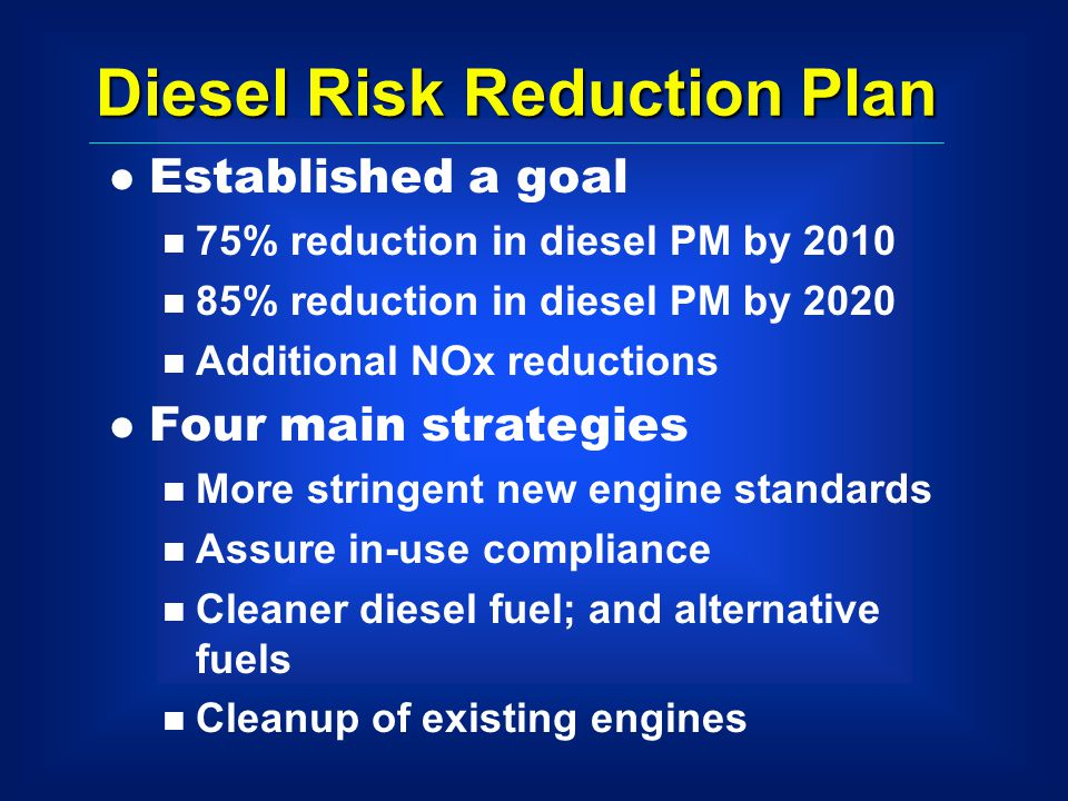 Diesel Risk Reduction Plan l Established a goal n 75% reduction in diesel PM by 2010 n 85% reduction in diesel PM by 2020 n Additional NOx reductions l Four main strategies n More stringent new engine standards n Assure in-use compliance n Cleaner diesel fuel; and alternative fuels n Cleanup of existing engines