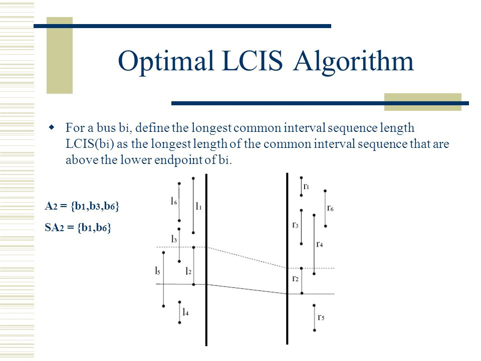 Optimal LCIS Algorithm For a bus b i, define the longest common interval sequence length LCIS(b i ) as the longest length of the common interval sequence that are above the lower endpoint of b i.