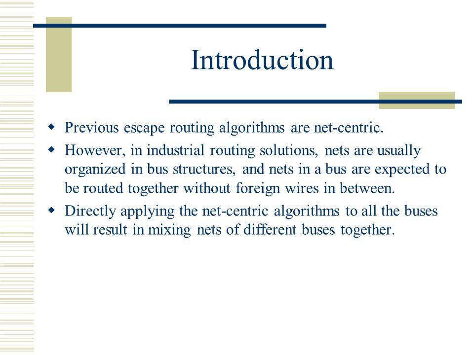 Introduction Previous escape routing algorithms are net-centric.