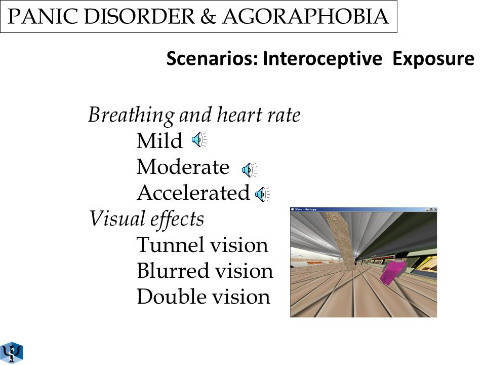 PANIC DISORDER & AGORAPHOBIA Scenarios: Situational Exposure THE TUNNEL Being in situations where finding the exit is difficult