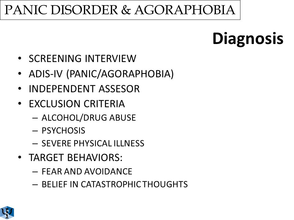 PANIC DISORDER & AGORAPHOBIA Treatment ä 2 SESSIONS ä EDUCATIONAL COMPONENT ä COGNITIVE REESTRUCTURING ä SLOW BREATHING ä 6 VR GRADED EXPOSURE SESSION