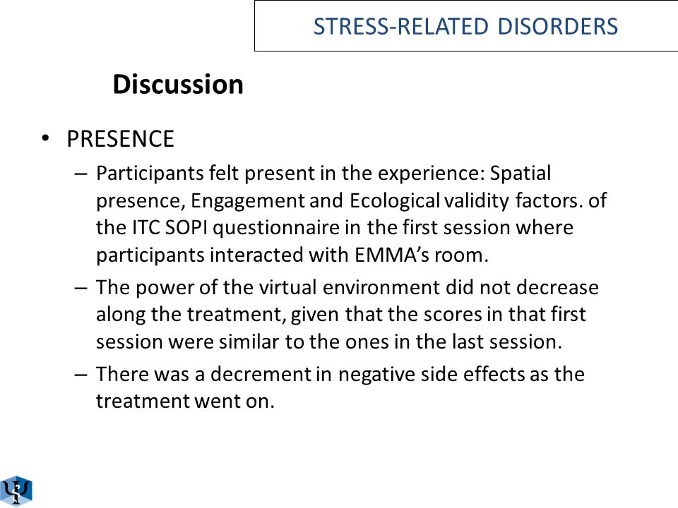 Discussion In both conditions participants reported being less perturbed, they accepted better the stressful event, and they are more open to new expe