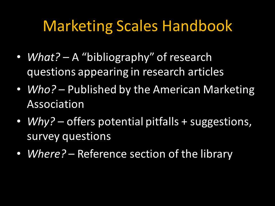 Marketing Scales Handbook What.